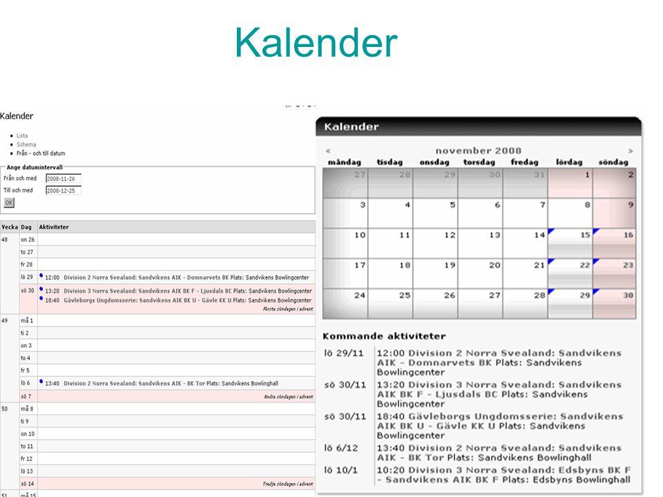 IdrottOnline - Klubb, Introdutionsutbildning. 9 Kalender