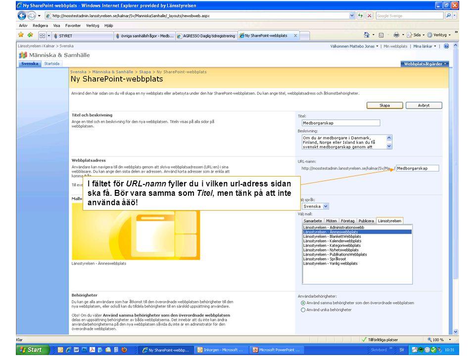 I fältet för URL-namn fyller du i vilken url-adress sidan ska få. Bör vara samma som Titel, men tänk på att inte använda åäö!