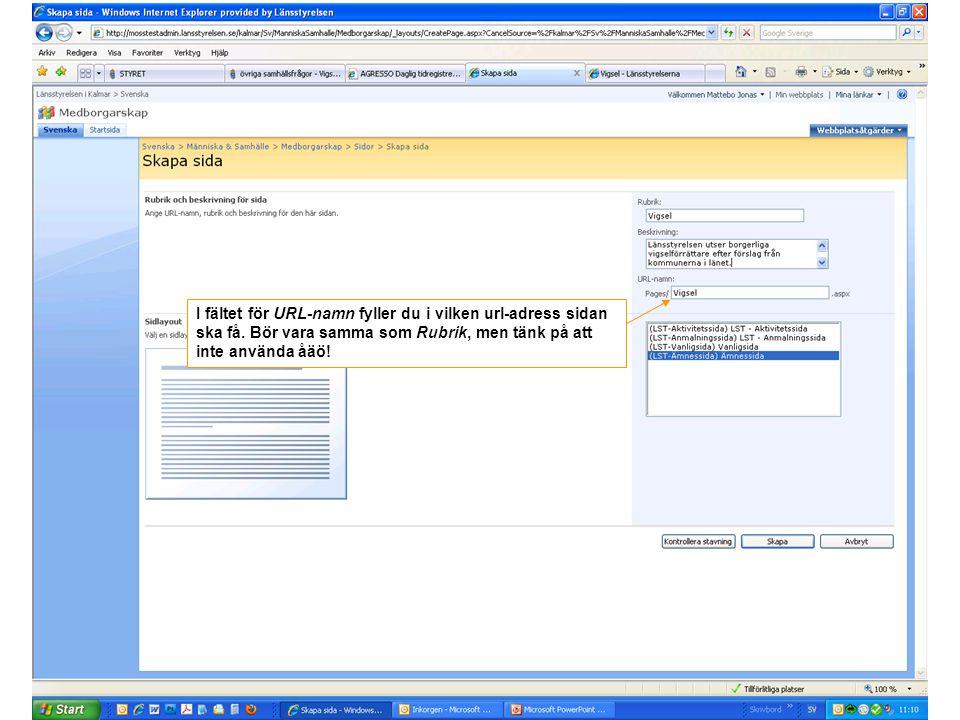 I fältet för URL-namn fyller du i vilken url-adress sidan ska få. Bör vara samma som Rubrik, men tänk på att inte använda åäö!