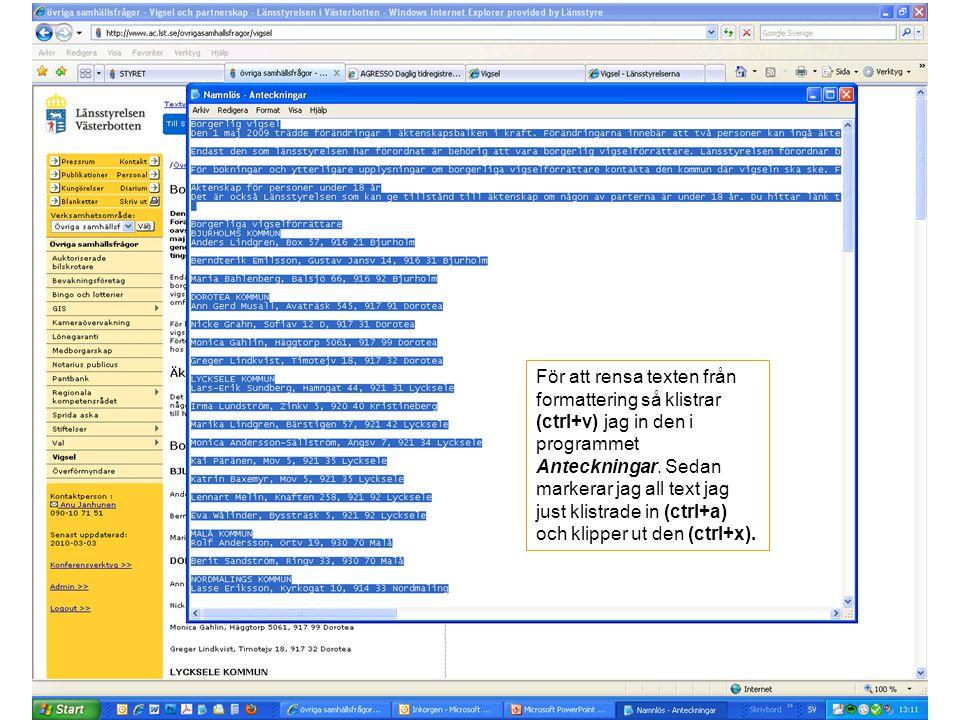 För att rensa texten från formattering så klistrar (ctrl+v) jag in den i programmet Anteckningar. Sedan markerar jag all text jag just klistrade in (c