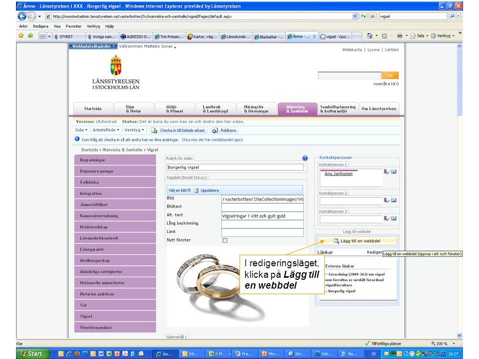 I redigeringsläget, klicka på Lägg till en webbdel