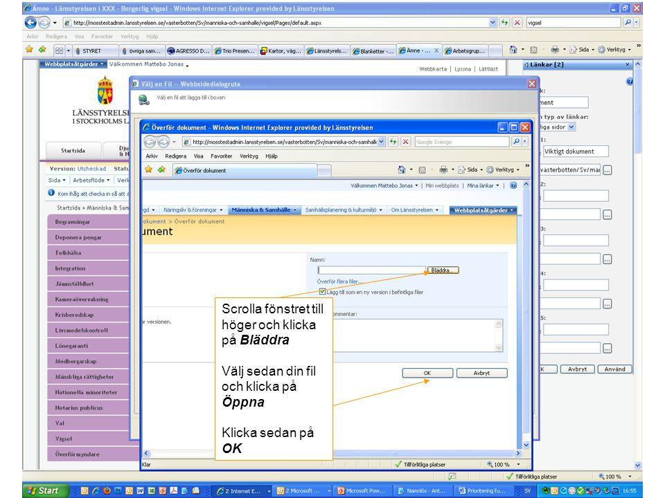 Scrolla fönstret till höger och klicka på Bläddra Välj sedan din fil och klicka på Öppna Klicka sedan på OK