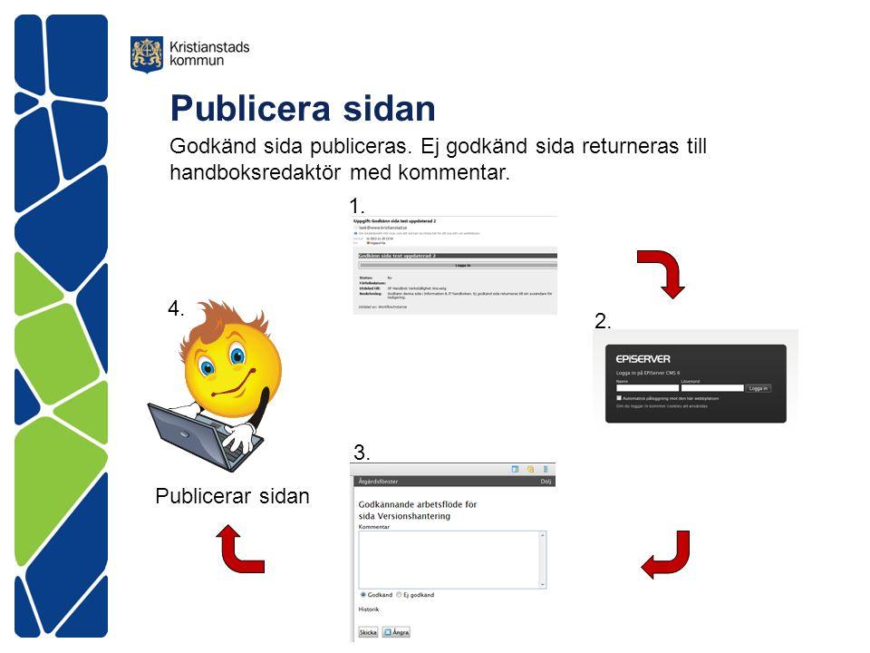 Publicera sidan Publicerar sidan 1. 2. 3. 4. Godkänd sida publiceras. Ej godkänd sida returneras till handboksredaktör med kommentar.