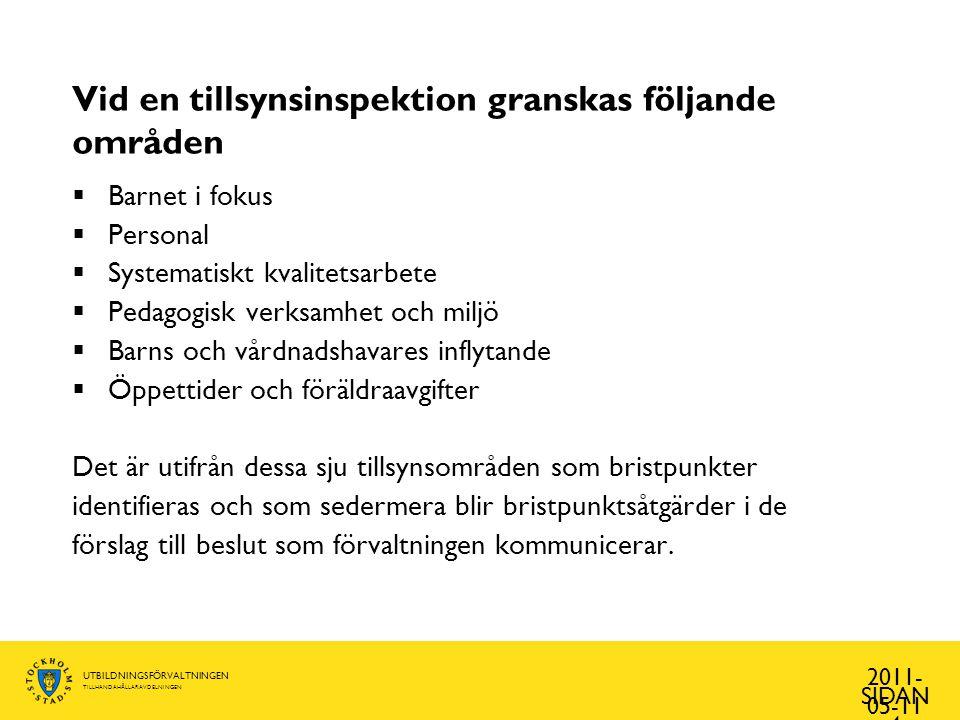 UTBILDNINGSFÖRVALTNINGEN TILLHANDAHÅLLARAVDELNINGEN Förelägganden 2011- 05-11 SIDAN 5 TillsynsområdeAntalVanligaste åtgärdspunkt Barnet i fokus16Barnsäkerhet (10) Personal77Ledningsorganisation (29) Registerutdrag (28) Systematiskt kvalitetsarbete6Systematiskt kvalitetsarbete (6) Pedagogisk verksamhet och miljö 11Verksamhetens miljö och utrustning (6) Barns och vårdnadshavares inflytande 0 Öppettider och föräldraavgifter 8Avgifter (4) Totalt118