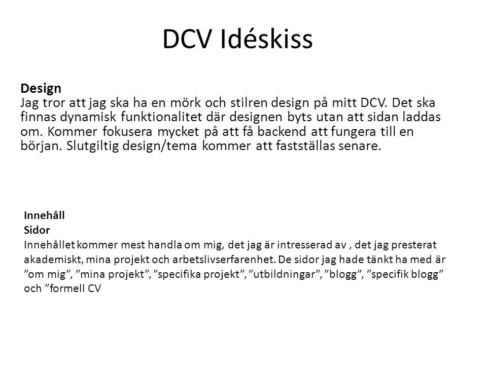 DCV Idéskiss Design Jag tror att jag ska ha en mörk och stilren design på mitt DCV.