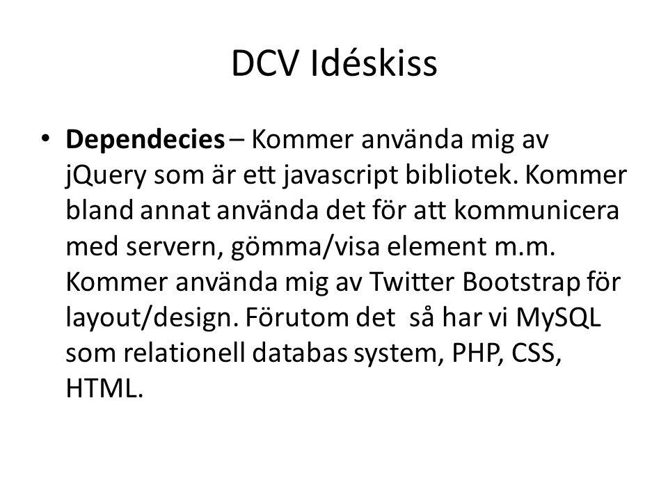 DCV Idéskiss Dependecies – Kommer använda mig av jQuery som är ett javascript bibliotek.