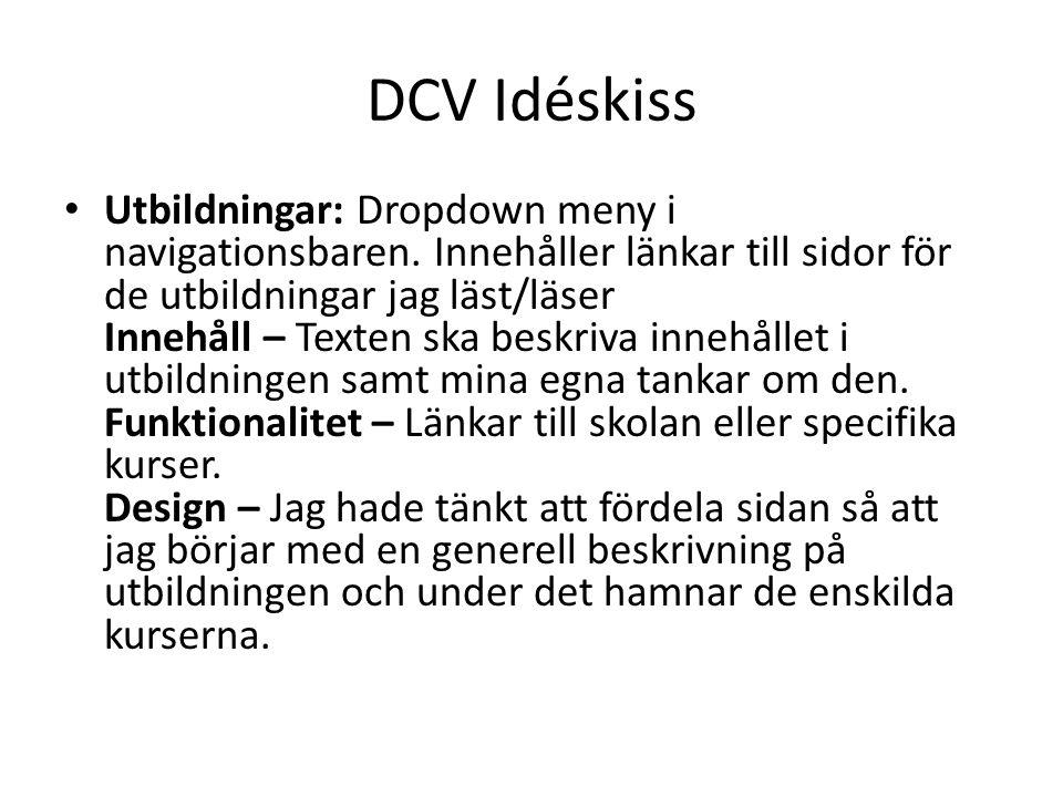 DCV Idéskiss Utbildningar: Dropdown meny i navigationsbaren.