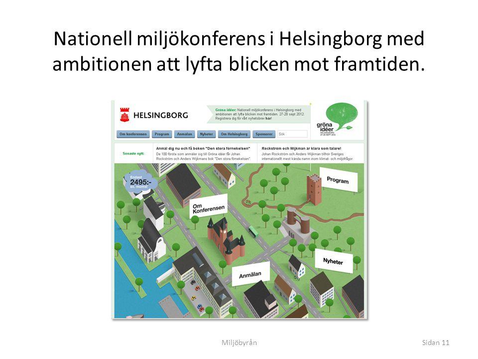 Miljöbyrån Nationell miljökonferens i Helsingborg med ambitionen att lyfta blicken mot framtiden. 27-28 september 2012 Dunkers kulturhus Sidan 11