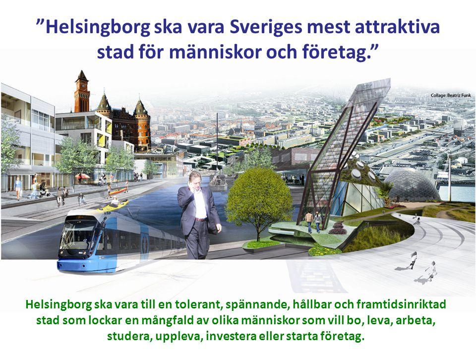 """""""Helsingborg ska vara Sveriges mest attraktiva stad för människor och företag."""" Helsingborg ska vara till en tolerant, spännande, hållbar och framtids"""