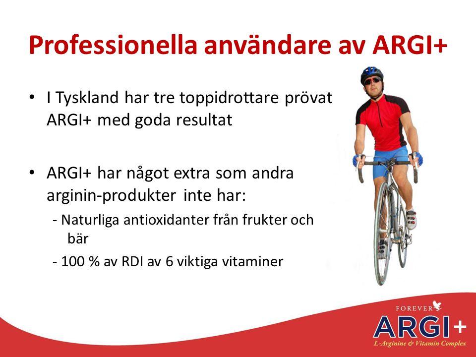 Professionella användare av ARGI+ I Tyskland har tre toppidrottare prövat ARGI+ med goda resultat ARGI+ har något extra som andra arginin-produkter in