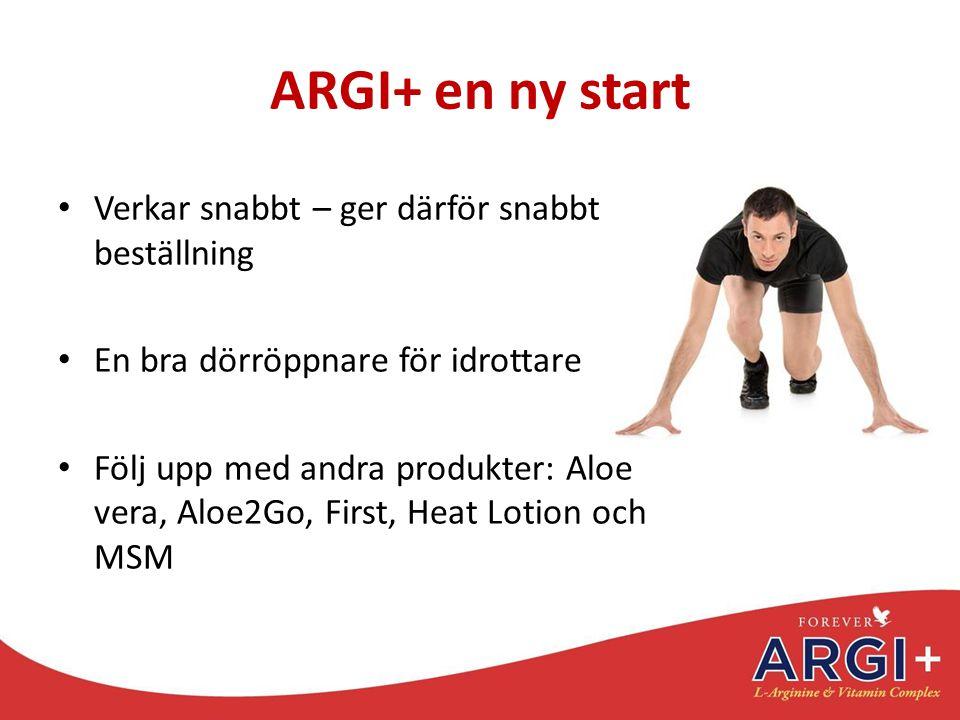ARGI+ en ny start Verkar snabbt – ger därför snabbt ny beställning En bra dörröppnare för idrottare Följ upp med andra produkter: Aloe vera, Aloe2Go,