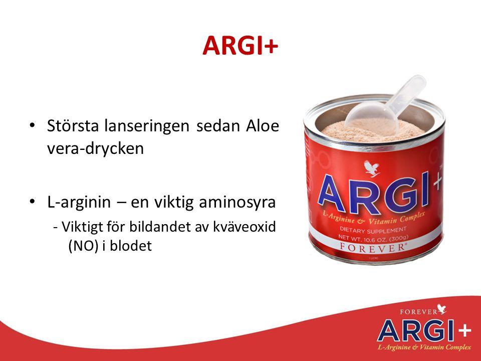 ARGI+ Största lanseringen sedan Aloe vera-drycken L-arginin – en viktig aminosyra - Viktigt för bildandet av kväveoxid (NO) i blodet