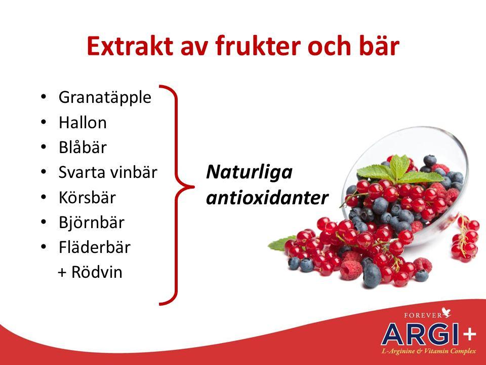 Extrakt av frukter och bär Granatäpple Hallon Blåbär Svarta vinbär Körsbär Björnbär Fläderbär + Rödvin Naturliga antioxidanter