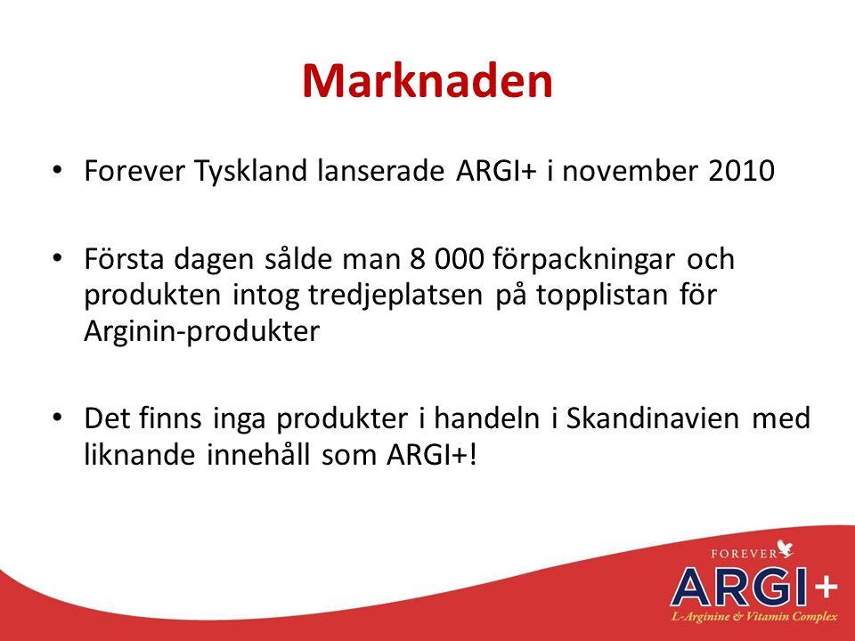 Marknaden Forever Tyskland lanserade ARGI+ i november 2010 Första dagen sålde man 8 000 förpackningar och produkten intog tredjeplatsen på topplistan
