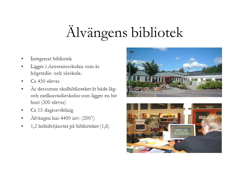 Älvängens bibliotek Integrerat bibliotek Ligger i Aroseniusskolan som är högstadie- och särskola. Ca 450 elever Är dessutom skolbiblioteket åt både lå
