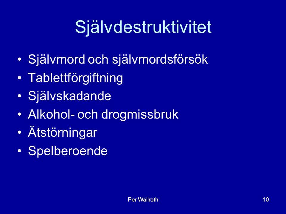 Per Wallroth10 Självdestruktivitet Självmord och självmordsförsök Tablettförgiftning Självskadande Alkohol- och drogmissbruk Ätstörningar Spelberoende