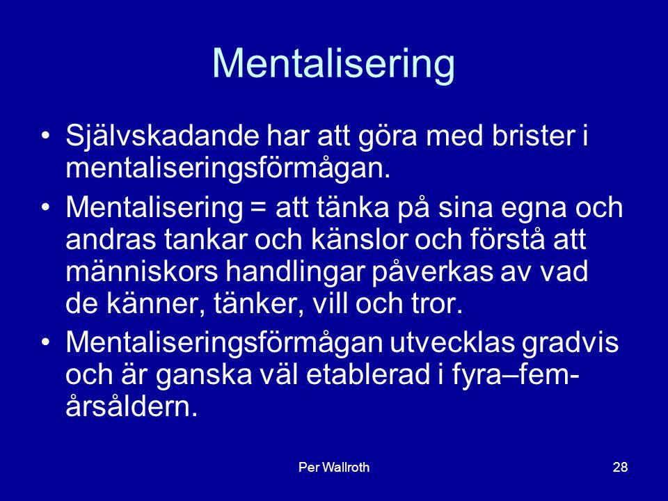Per Wallroth28 Mentalisering Självskadande har att göra med brister i mentaliseringsförmågan.