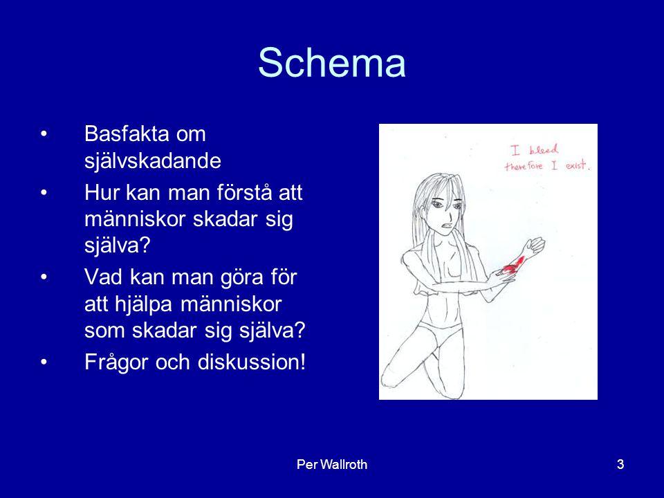 Per Wallroth3 Schema Basfakta om självskadande Hur kan man förstå att människor skadar sig själva? Vad kan man göra för att hjälpa människor som skada