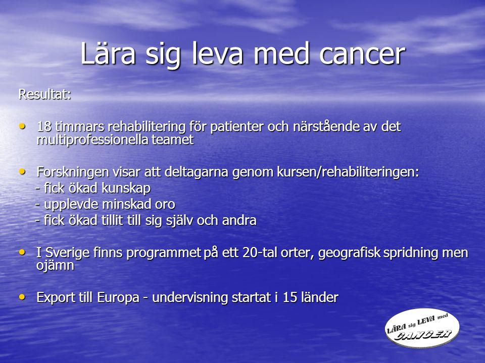 Lära sig leva med cancer Resultat: 18 timmars rehabilitering för patienter och närstående av det multiprofessionella teamet 18 timmars rehabilitering