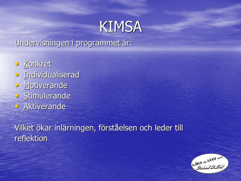 KIMSA Undervisningen i programmet är: Konkret Konkret Individualiserad Individualiserad Motiverande Motiverande Stimulerande Stimulerande Aktiverande