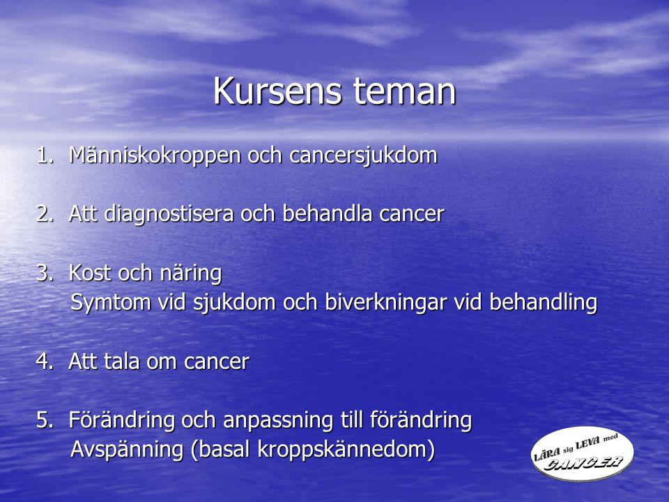 Kursens teman 1. Människokroppen och cancersjukdom 2. Att diagnostisera och behandla cancer 3. Kost och näring Symtom vid sjukdom och biverkningar vid