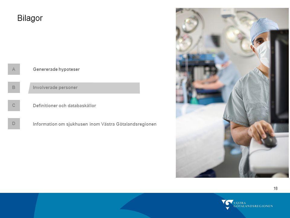 18 Genererade hypoteserA C Definitioner och databaskällor Involverade personer B Bilagor D Information om sjukhusen inom Västra Götalandsregionen