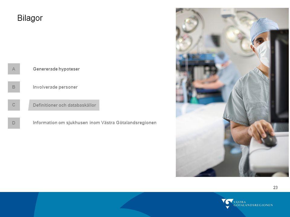 23 Genererade hypoteserA C Definitioner och databaskällor Involverade personer B Bilagor D Information om sjukhusen inom Västra Götalandsregionen