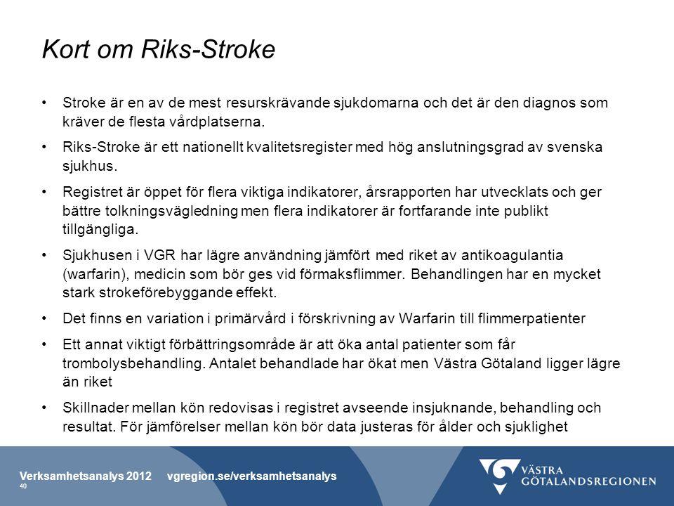 Kort om Riks-Stroke Stroke är en av de mest resurskrävande sjukdomarna och det är den diagnos som kräver de flesta vårdplatserna. Riks-Stroke är ett n