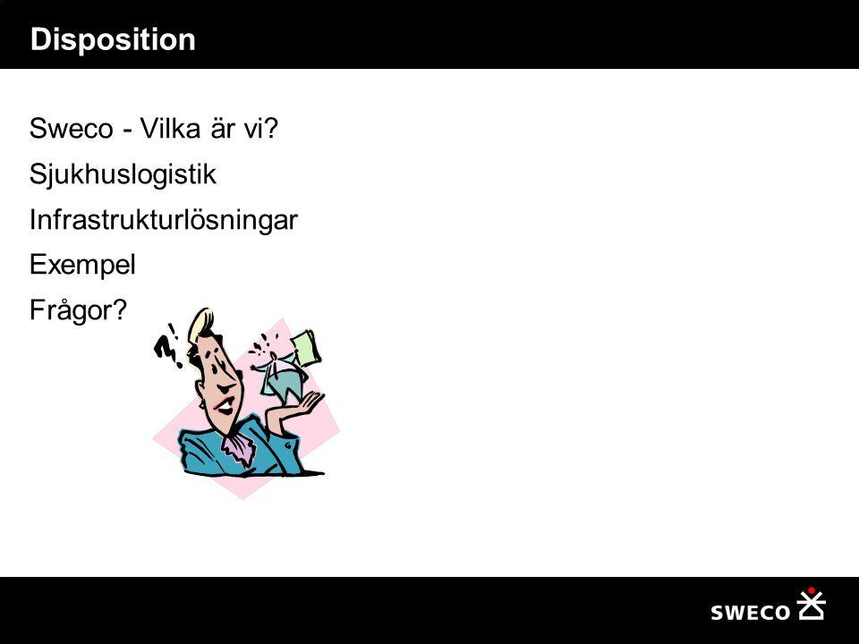 Disposition Sweco - Vilka är vi? Sjukhuslogistik Infrastrukturlösningar Exempel Frågor?