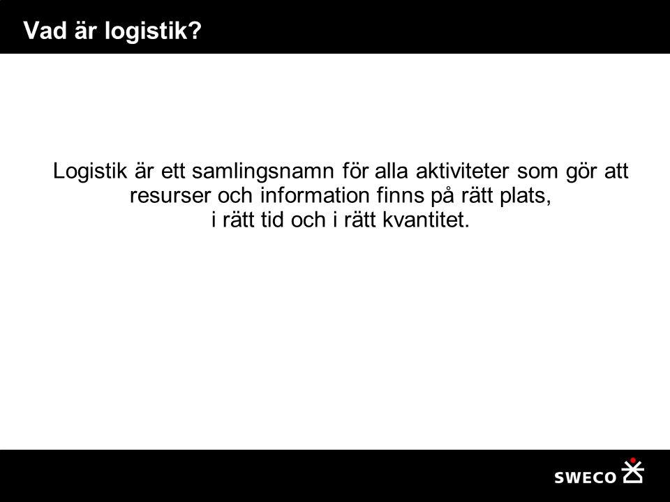Vad är logistik? Logistik är ett samlingsnamn för alla aktiviteter som gör att resurser och information finns på rätt plats, i rätt tid och i rätt kva