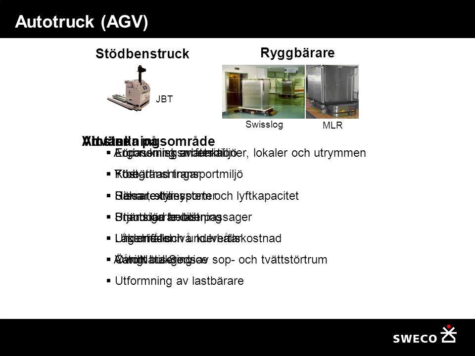 Att tänka på  Anpassning av funktioner, lokaler och utrymmen  Ytbegränsningar  Hissar, styrsystem och lyftkapacitet  Branddörrar och passager  Underhållsnivå kulvertar  Automatisering av sop- och tvättstörtrum  Utformning av lastbärare Autotruck (AGV) JBT Swisslog MLR Stödbenstruck Ryggbärare Vinster  Ergonomisk arbetsmiljö  Förbättrad transportmiljö  Säkrare transporter  Utjämnad belastning  Låg drift- och underhållskostnad  VårdNära Service Användningsområde  Förbrukningsmaterial  Kost  Rena textilier  Smutsiga textilier  Läkemedel  Övrigt bulkgods