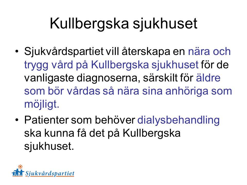 Sjukvårdspartiet vill återskapa en nära och trygg vård på Kullbergska sjukhuset för de vanligaste diagnoserna, särskilt för äldre som bör vårdas så nä