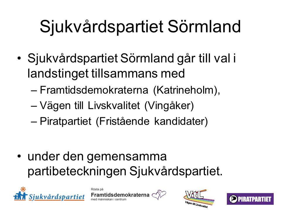 Sjukvårdspartiet Sörmland Sjukvårdspartiet Sörmland går till val i landstinget tillsammans med –Framtidsdemokraterna (Katrineholm), –Vägen till Livskv