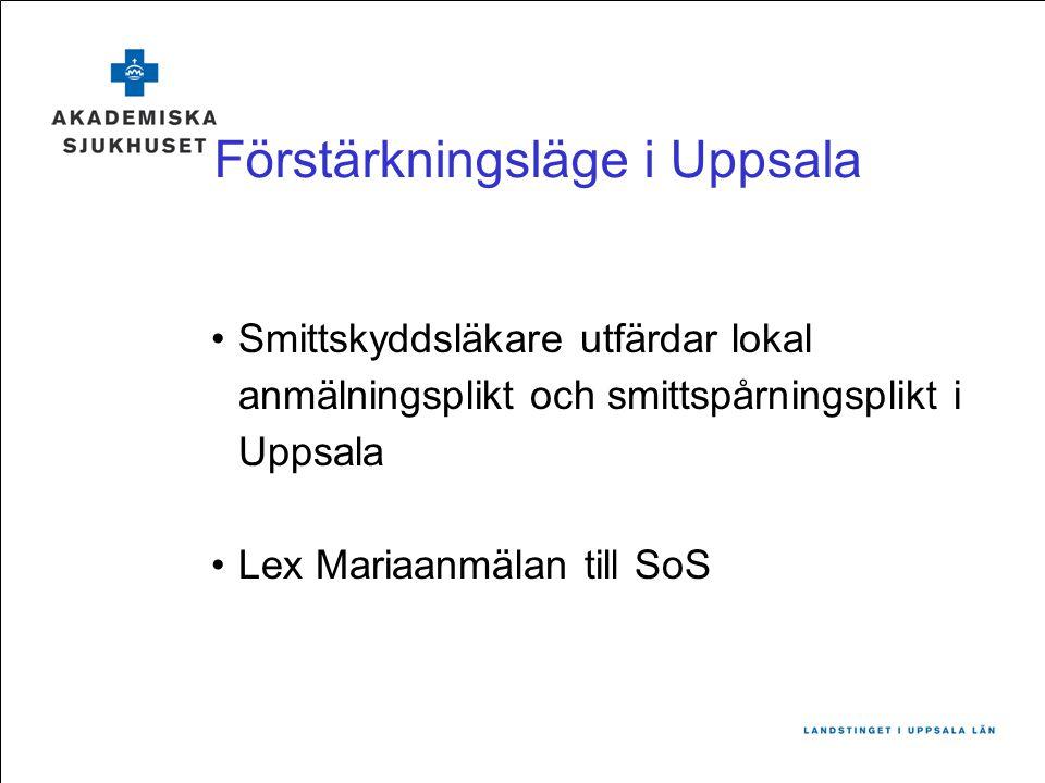 Förstärkningsläge i Uppsala Smittskyddsläkare utfärdar lokal anmälningsplikt och smittspårningsplikt i Uppsala Lex Mariaanmälan till SoS