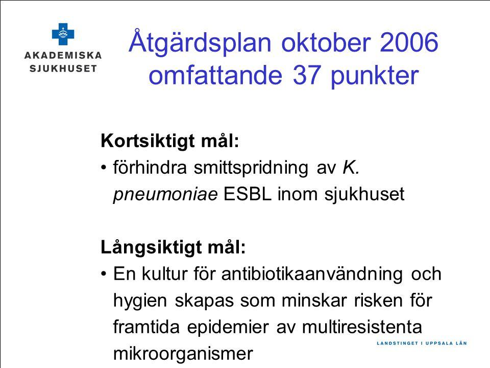 Åtgärdsplan oktober 2006 omfattande 37 punkter Kortsiktigt mål: förhindra smittspridning av K. pneumoniae ESBL inom sjukhuset Långsiktigt mål: En kult