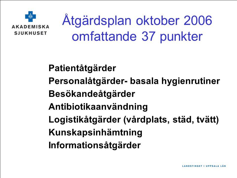 Åtgärdsplan oktober 2006 omfattande 37 punkter Patientåtgärder Personalåtgärder- basala hygienrutiner Besökandeåtgärder Antibiotikaanvändning Logistik