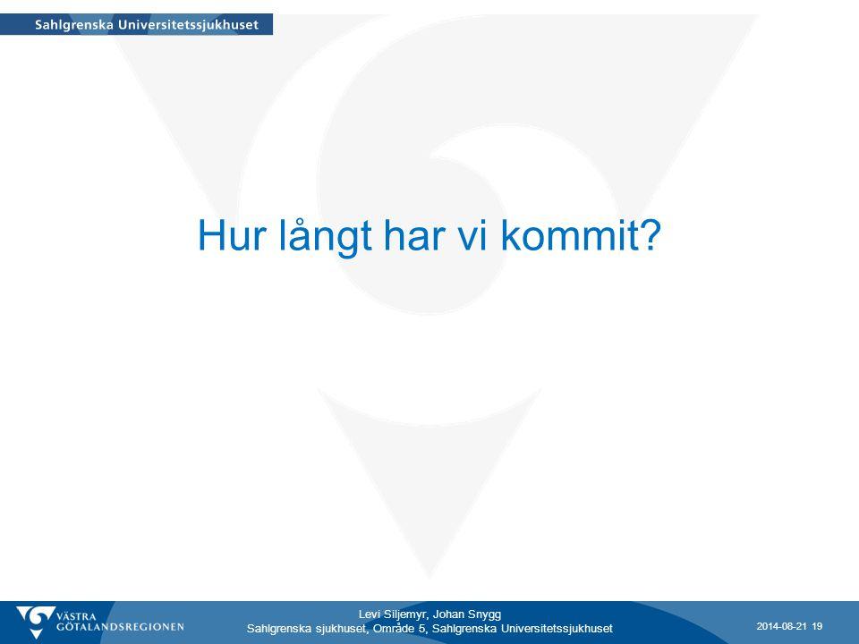 Levi Siljemyr, Johan Snygg Sahlgrenska sjukhuset, Område 5, Sahlgrenska Universitetssjukhuset Hur långt har vi kommit? 2014-08-21 19
