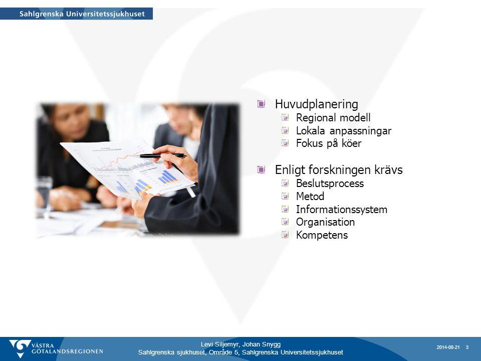 Levi Siljemyr, Johan Snygg Sahlgrenska sjukhuset, Område 5, Sahlgrenska Universitetssjukhuset Huvudplanering Regional modell Lokala anpassningar Fokus