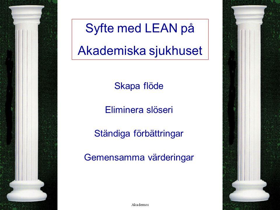 Akademos 21/08/2014 2 Syfte med LEAN på Akademiska sjukhuset Skapa flöde Eliminera slöseri Ständiga förbättringar Gemensamma värderingar