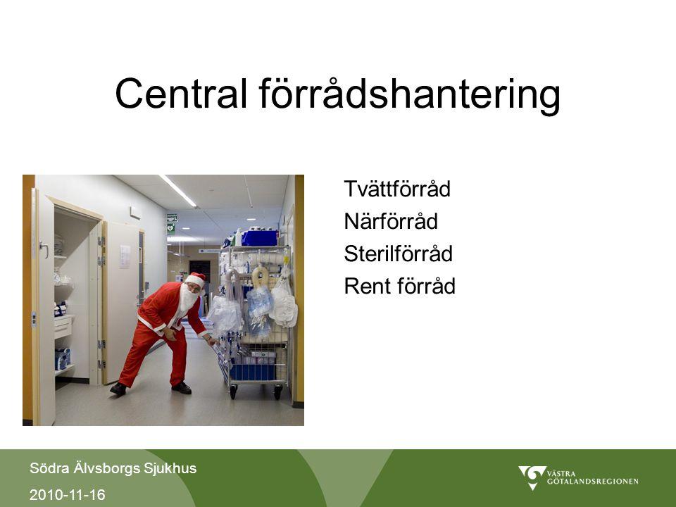 Södra Älvsborgs Sjukhus 2010-11-16 Central förrådshantering Tvättförråd Närförråd Sterilförråd Rent förråd