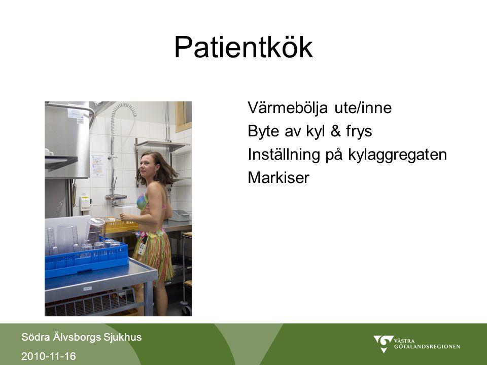 Södra Älvsborgs Sjukhus 2010-11-16 Patientkök Värmebölja ute/inne Byte av kyl & frys Inställning på kylaggregaten Markiser