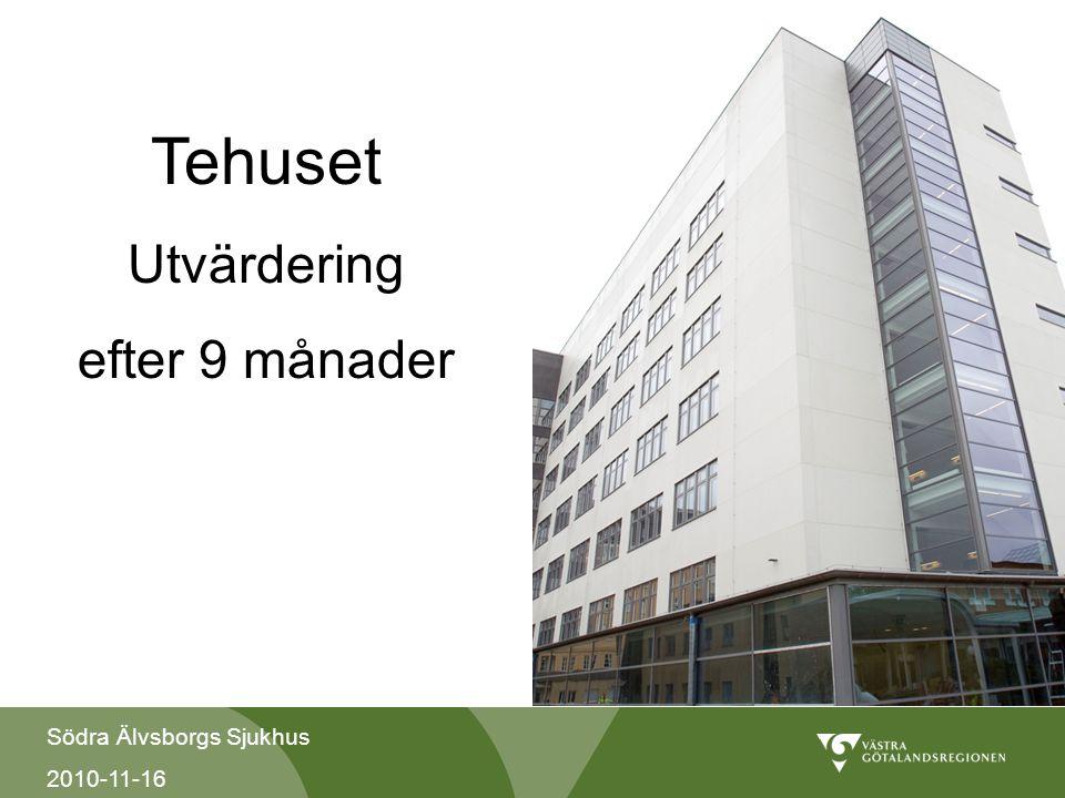 Södra Älvsborgs Sjukhus 2010-11-16 Tehuset Utvärdering efter 9 månader