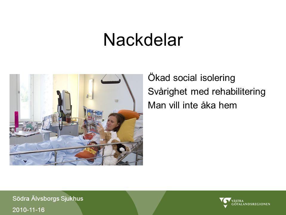 Södra Älvsborgs Sjukhus 2010-11-16 Nackdelar Ökad social isolering Svårighet med rehabilitering Man vill inte åka hem