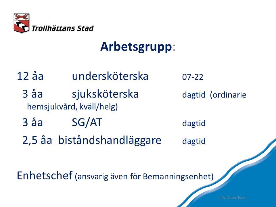Arbetsgrupp: 12 åaundersköterska 07-22 3 åasjuksköterska dagtid (ordinarie hemsjukvård, kväll/helg) 3 åaSG/AT dagtid 2,5 åa biståndshandläggare dagtid