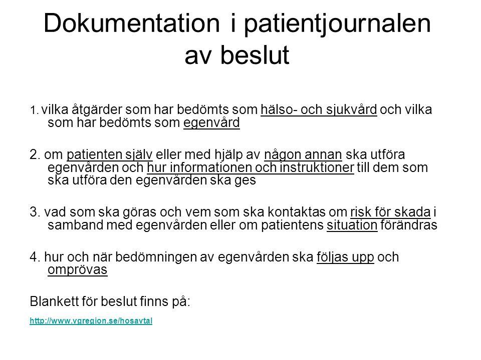 Dokumentation i patientjournalen av beslut 1. vilka åtgärder som har bedömts som hälso- och sjukvård och vilka som har bedömts som egenvård 2. om pati