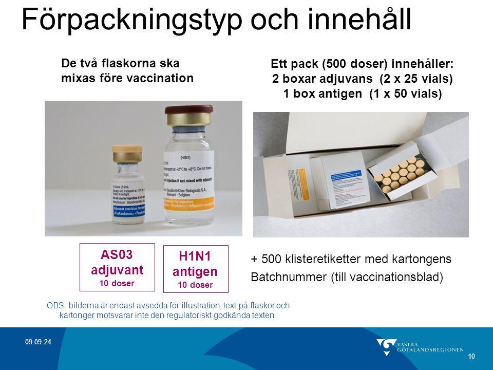 09 09 24 10 Förpackningstyp och innehåll De två flaskorna ska mixas före vaccination AS03 adjuvant 10 doser H1N1 antigen 10 doser Ett pack (500 doser) innehåller: 2 boxar adjuvans (2 x 25 vials) 1 box antigen (1 x 50 vials) OBS: bilderna är endast avsedda för illustration, text på flaskor och kartonger motsvarar inte den regulatoriskt godkända texten.