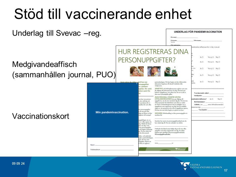 09 09 24 17 Stöd till vaccinerande enhet Underlag till Svevac –reg. Medgivandeaffisch (sammanhållen journal, PUO) Vaccinationskort