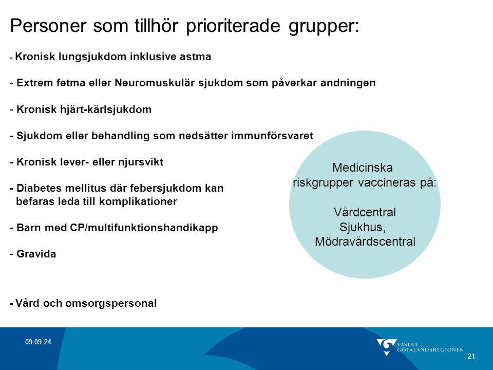 09 09 24 21 Personer som tillhör prioriterade grupper: - Kronisk lungsjukdom inklusive astma - Extrem fetma eller Neuromuskulär sjukdom som påverkar a