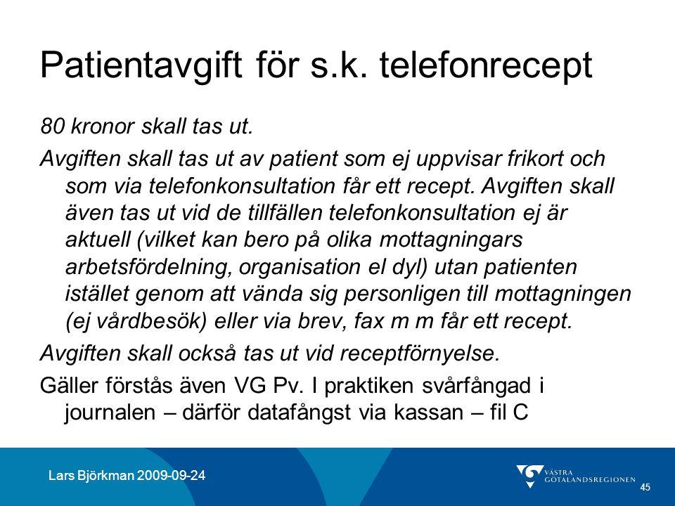 45 Patientavgift för s.k. telefonrecept 80 kronor skall tas ut. Avgiften skall tas ut av patient som ej uppvisar frikort och som via telefonkonsultati
