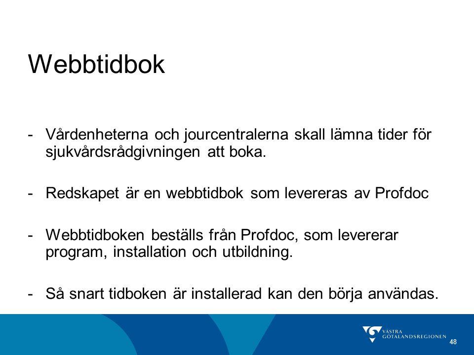 48 Webbtidbok -Vårdenheterna och jourcentralerna skall lämna tider för sjukvårdsrådgivningen att boka. -Redskapet är en webbtidbok som levereras av Pr